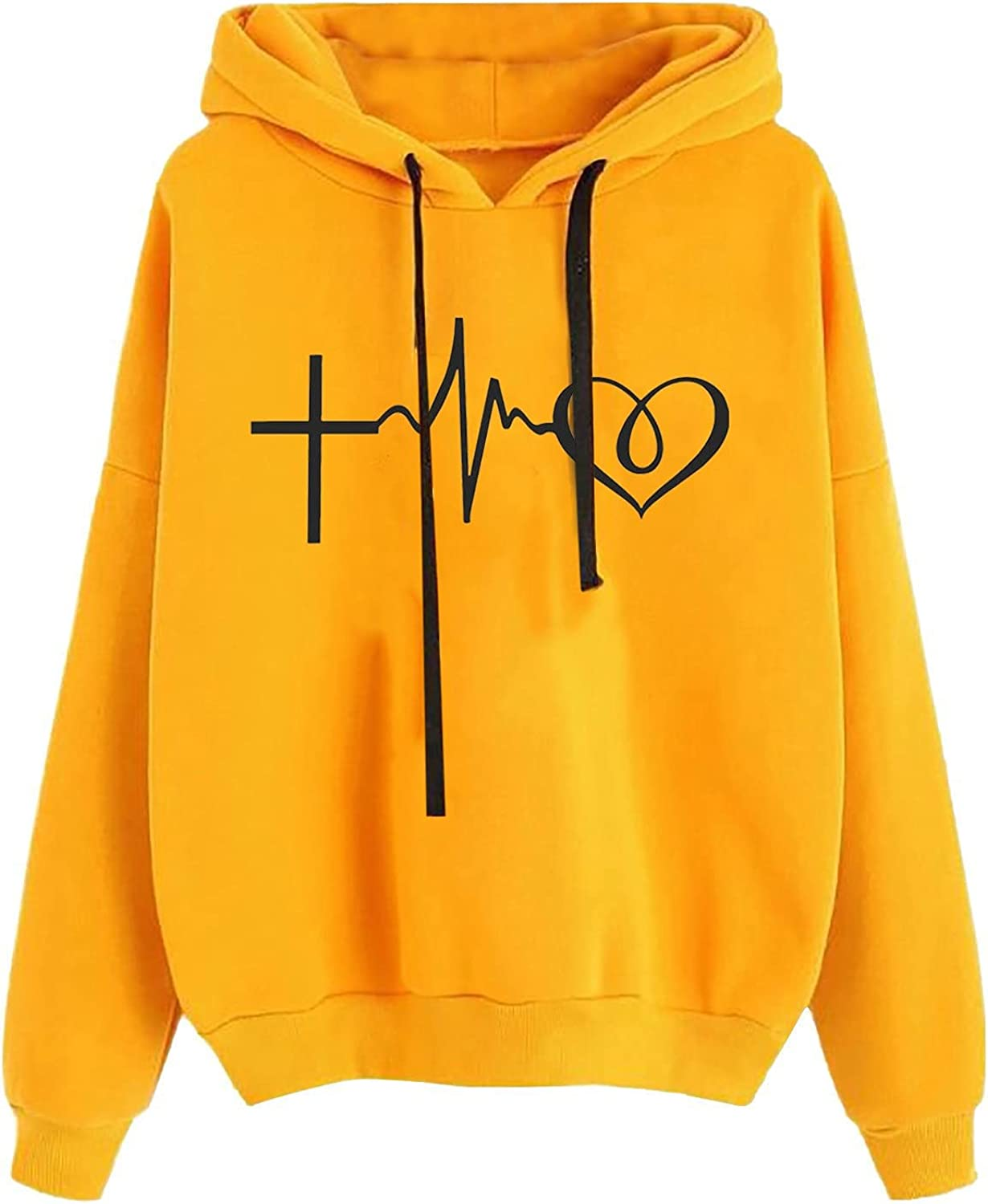 Women's Hoodie, Casual Loose Heart Print Long Sleeve Hooded Drawstring Pullover Sweatshirt Tops Winter Clothes