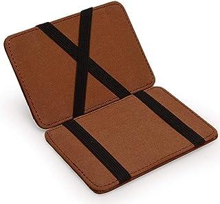 HUANG Pince à billets magique pour hommes portefeuille de poche mince porte-carte de crédit mince Mini petit petit court e...
