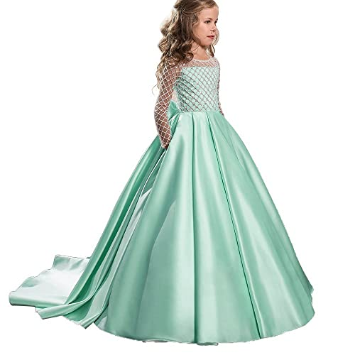 d997f121b86 Christmas Fancy Flower Girl Dress Floor Length Button Draped Pink Long Sleeves  Tulle Ball Gowns for