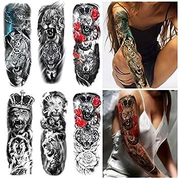 6 Sheets PADOUN Lion Tiger Temporary Tattoos Sleeve Full Arm Sleeve Tattoos Temporary Fake Large Animal Tattoo Sticker for Men Women Girls Adults