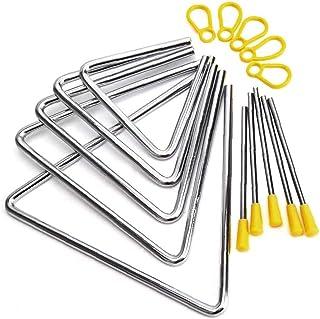 Naisicatar 5 Pack Mano Percusión Instrumento Triángulos Triángulo Musical Instrumento Conjunto De Instrumentos De Percusió...