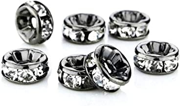 RUBYCA 100pcs Round Rondelle Spacer Bead Gunmetal Black 8mm White Clear Czech Crystal