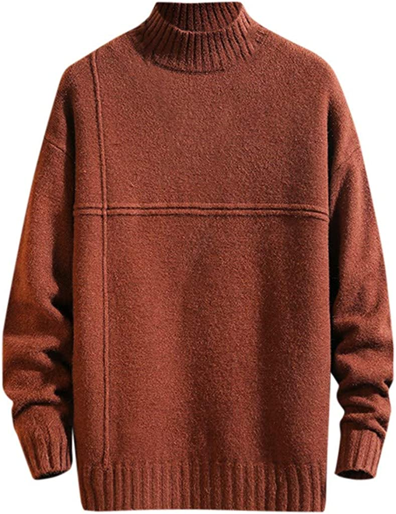 Holzkary Mens Slim Fit Sweater Casual Turtleneck Pullover Knitted Sweaters with Ribbing Edge
