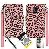 3 items Combo: ITUFFY (TM) LCD Screen Protector Film + Mini Stylus Pen + 2-Tone Leather Wallet & ID Card Case with lanyard for ZTE SOURCE N9511 / ZTE Majesty Z796c - (StraightTalk, Net10, Cricket) (Pink Leopard / Pink)