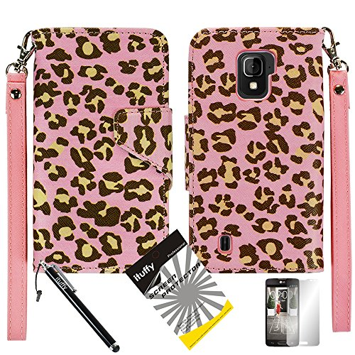 3 items Combo: ITUFFY (TM) LCD Screen Protector Film + Mini Stylus Pen + 2-Tone Leather Wallet & ID Card Case with lanyard for ZTE SOURCE N9511 / ZTE Majesty Z796c - (StraightTalk, Net10, Cricket) (Pink Leopard / Pink)