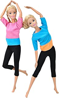 E-TING Handmade Yoga Clothes Gym Running Sportswear for Girl Doll (2 Sets Yoga Clothes)