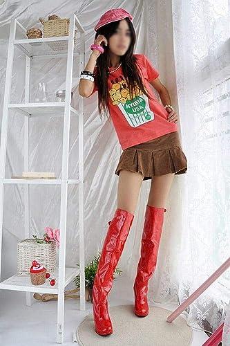 ZHRUI schuhe de damen - Stiefel Sobre la Rodilla para damen Stiefel de Invierno Stiefel Individuales schuhe de Gran tamaño para damen (Farbe   rot, tamaño   42)