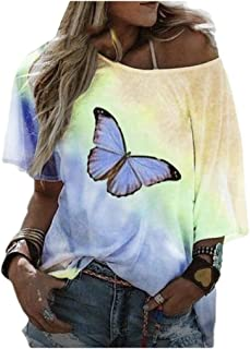 MogogN Womens Floral Print Casual Blouse Round Neck Short Sleeve Tees Shirt Yellow S