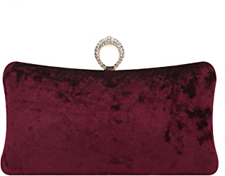 Knuckle Clutch Purse Rhinestone Velvet Evening Bags For Women