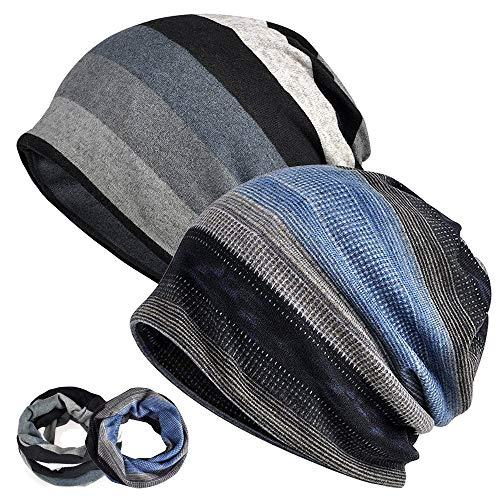 EINSKEY Slouchy Beanie for Men/Women 2-Pack Baggy Skull Cap Summer Winter Knit Hat (Ponytail Beanie/Loop Scarf (D))