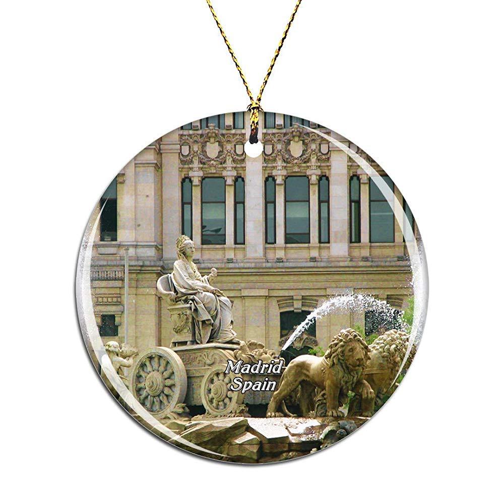 Kysd43Mill Adornos de Navidad de Prado Madrid con diseño de Cibeles de España, decoración de árbol de Navidad de cerámica para Colgar: Amazon.es: Hogar