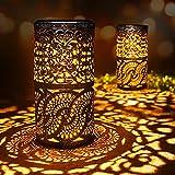 2 Pcs,Lampes Solaires Rétro, Bougeoir Lampe de Table Solaire Pour l'intérieur et l'extérieur, Lampe de Table Ancienne, Lampes Solaires Décorations de Jardin