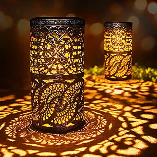 2 piezas de luces solares retro candelabro Lámpara de mesa solar para interiores, exterior Lámpara de mesa antigua casera (Gris plateado)
