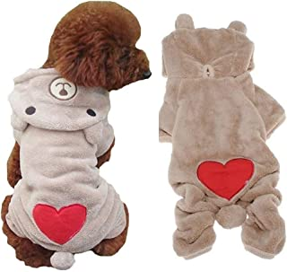 FuzzyGreen Puppy Dog Pet Patterns Winter Warm Fleece Hoodie Jumpsuit Jacket Animal Coat Medium Outfit Sweatshirt Clothes