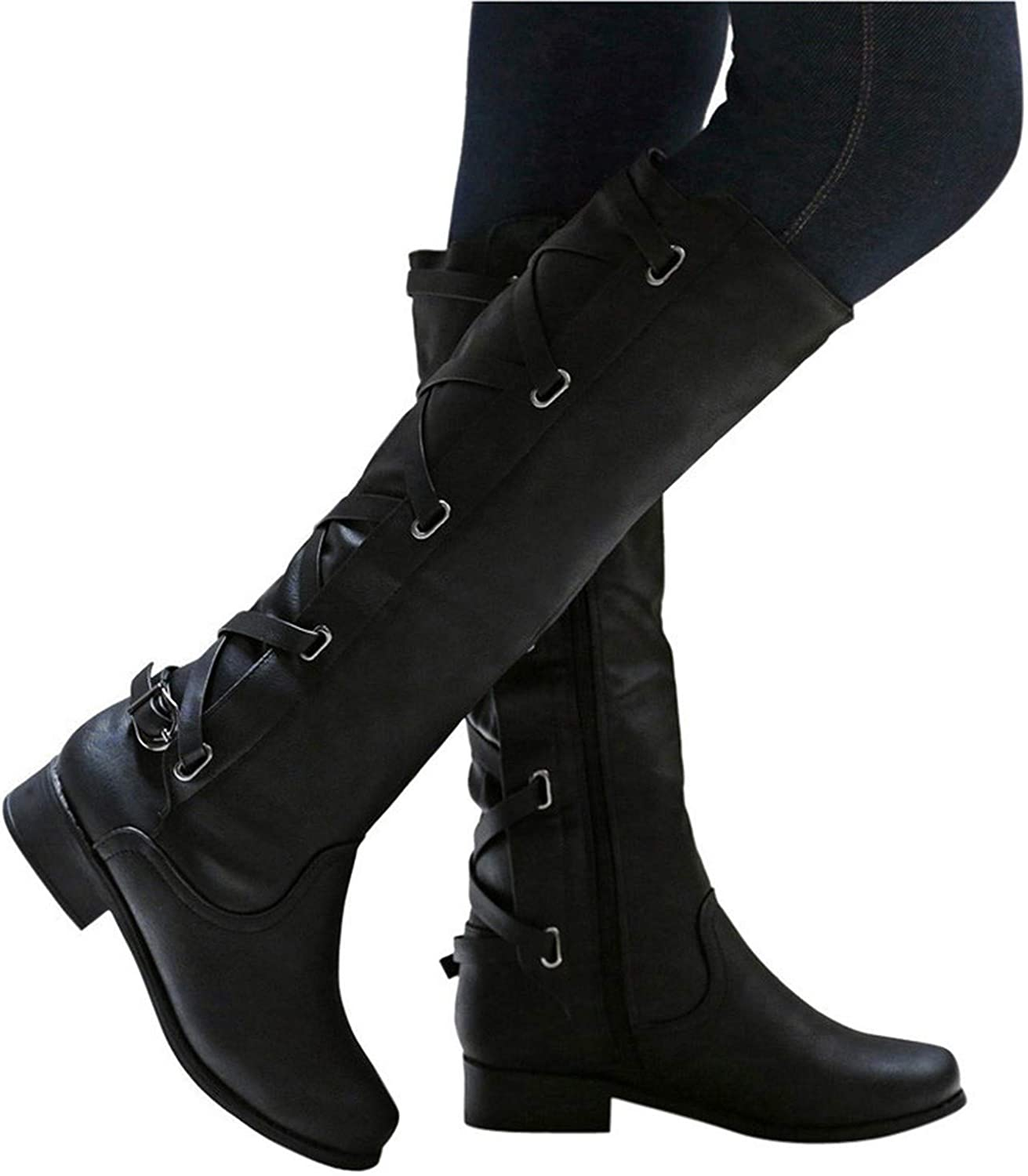 Don't mention the past Woman Buckle Roman Riding Knee High Cowboy Winter Boots Women Casual Long Boots Botas,Black,5.5,United States