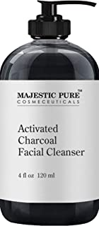 Charcoal Facial Cleanser by Majestic Pure - Detoxifying, Deep Pore Cleansing, and Revitalizing - Oily, Dry & Sensitive Skin Face Cleanser with Natural Ingredients, 4 fl oz