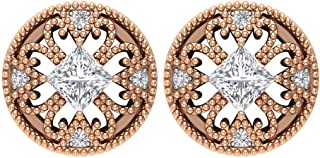 Solitaire 1/4 ct taglio principessa certificato diamante vintage orecchini, orecchini a perno, oro 14k con perline incise ...