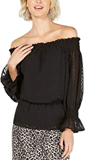 INC International Concepts Women's Textured Off-The-Shoulder Top, Deep Black, X-Large