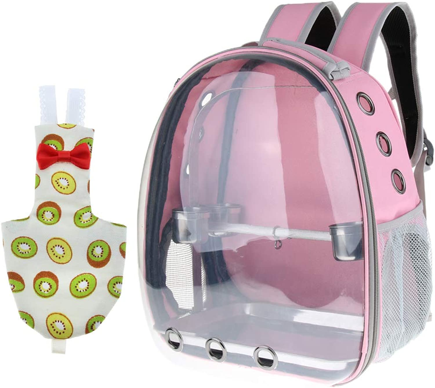 B Blesiya Parred Travel Carried Backpack Space Capsule Pet Bird Outdoor Perch with Feeding Cup and Reusable Bird Diaper Parakeet Cockatiels Chest Cover (Pink)