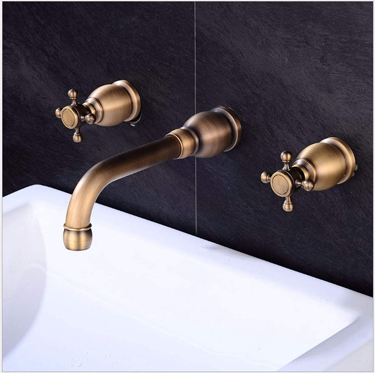 PatTheTap Wall Faucet Retro Metal Copper Bathroom Washbasin Hot and Cold Dual Mode