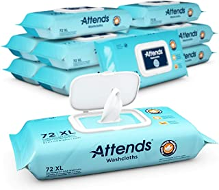 Attends Scented Washcloths for Adult Incontinence Care, hypoallergenic, Latex and Alcohol Free, 72 Count (Pack of 12)