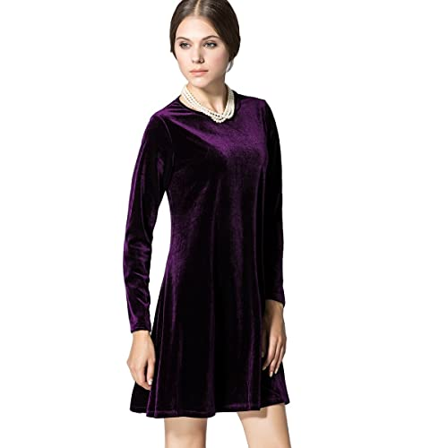 985212a33c4e K S Women s New A-Line Loose Crewneck Print Casual Velvet Dress Party Short  Dress