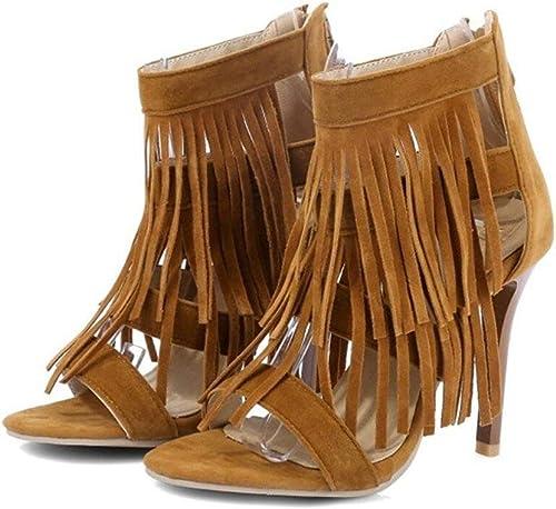 Femmes Tassel Heels Sandales Sandales D'été Fermeture éclair Arrière, Fête Shopping, 10CM, 32-41  livraison directe et rapide