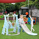 ETHY Toddler Climber and Swing Set, 3 in 1 Climber Sliding Playset for 2-6 Years Old Child, w/Basketball Hoop Suitable for Indoor and Backyard Baskets