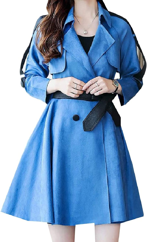 Tootca Women Parka Outwear Smocked Waist Belt TrimFit Lapel Trench Coat