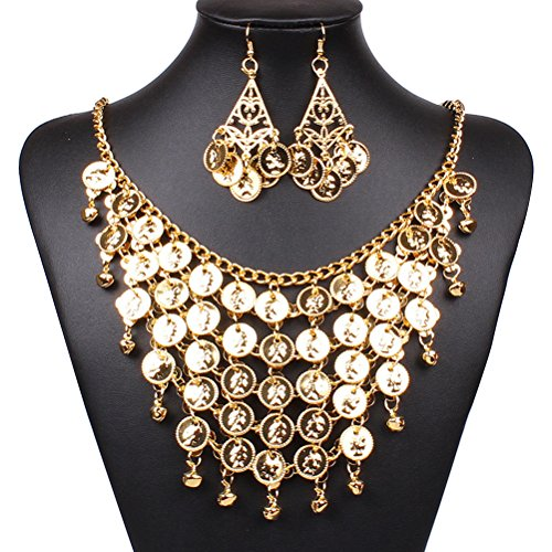 OULII Belly Dance Jewelry Set Gold Necklace Earrings for Party Favors...
