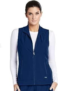 ONE 2-Pocket Mock Neck Zipper Vest for Women - Stretch Medical Scrub Vest