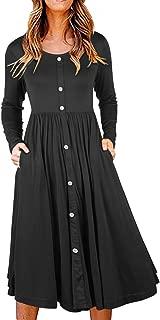 II ININ Women's Long Sleeve Casual Button Down Loose Swing Dress with Pockets