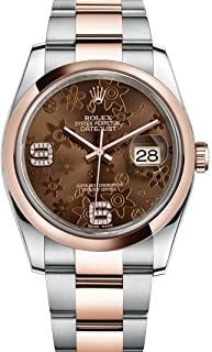 Rolex Datejust 36 Steel Rose Gold Watch Chocolate Floral Dial 116201