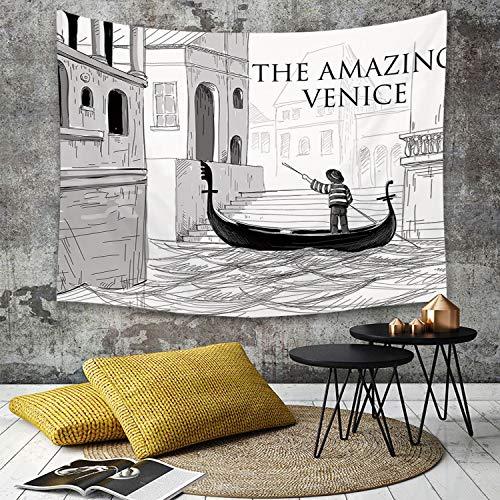 Yaoni Tapestry Pared paño Mantel Toalla de Playa,Venecia, Canales de Venecia niño gondolero en Agua histórico increíble Ciudad Europea bo,Decoraciones para el hogar para la Sala de Estar Dormitorio