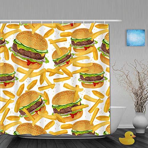 QINCO Duschvorhang,Hamburger Pommes Bettwäsche 3D Giant Burger 3 Stück Spaß Fast Food Kreative Tagesdecken,personalisierte Deko Badezimmer Vorhang,mit Haken,180 * 180
