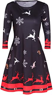 Sexyshine Women's Long Sleeve Christmas Santa Claus Lucky Star Print Xmas Gifts Snowman Casual Mid Dress