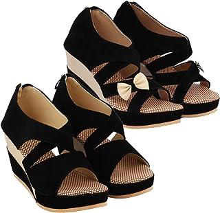 ABJ Fashion Black Wedge Sandal Combo for Women