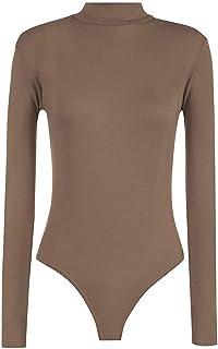 ZiXing Body Da Donna Cerniera Maniche Lunghe Elasticizzato T-Shirt Aderente One Piece Body Top