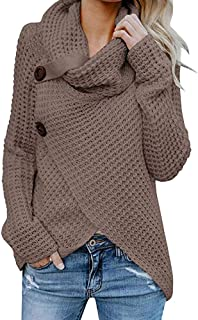 Jerseys De Punto para Mujer Cuello de Tortuga Manga Larga Suelto Prendas de Punto Suéter Irregular Jerséis Collar de la Pi...