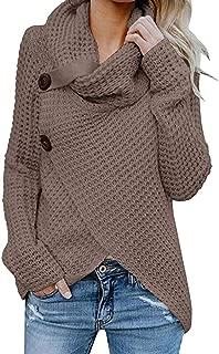 Irregular Hem Sweatshirt for Women, Women's Button Long Sleeve Cowl Neck Pullover Tops T Shirt