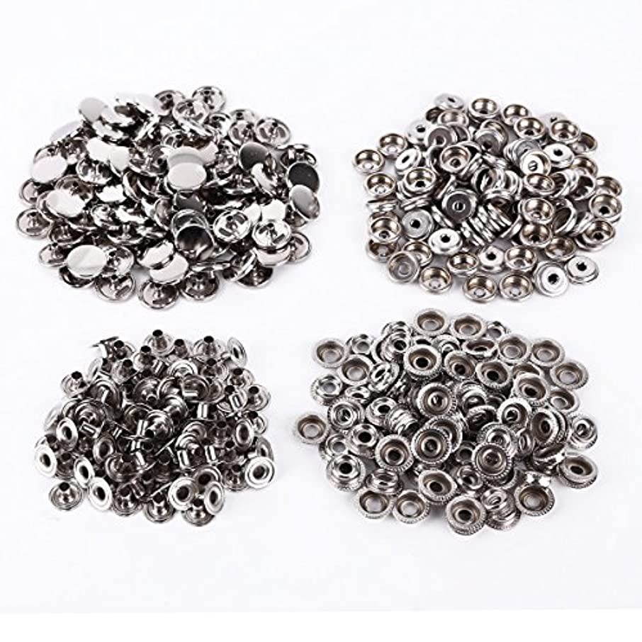 100 Sets Metal Sewing Press Studs Buttons Snap Fastener Popper 15mm Silver