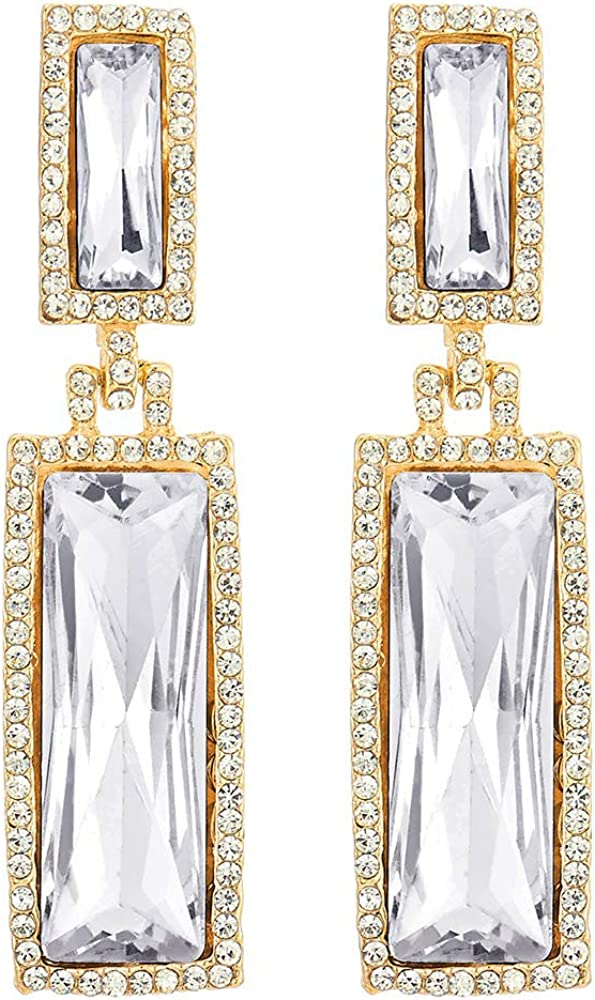 Sparkling Party Event Banquet Crystal Rhinestone Cluster Double Rectangles Long Dangle Gold Earrings
