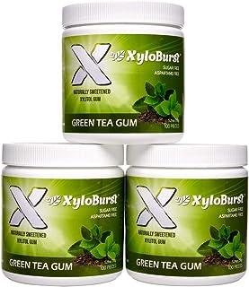 XyloBurst 100% Xylitol, Natural Chewing Gum, 100 Count Jar Non GMO, Vegan, Aspartame Free, Sugar Free (Green Tea, 3 Pack)