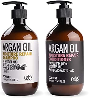 Cab's Argan Oil Moisture Repair Shampoo and Conditioner Set, Sulfate Free, Good for Damaged/Dry/Curly or Frizzy Hair, Suitable with All Hair Types, Men & Women - [2x 16.9 Fl Oz / 500ml]