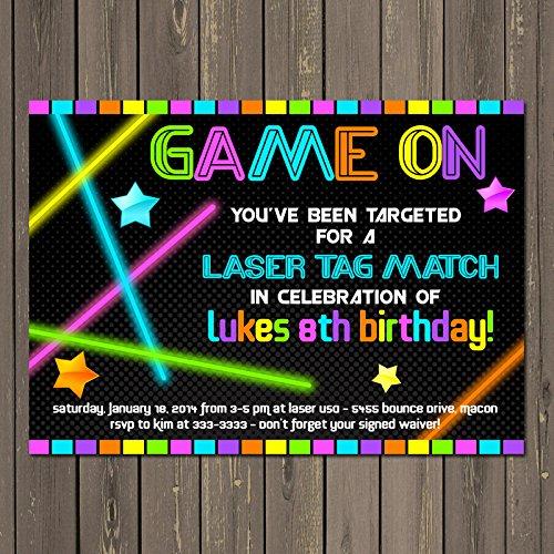 Glow In The Dark Birthday Party Tickets Get Your Glow On Birthday Party Glow Party Tickets Neon Laser Tag Tickets Invitation Tickets