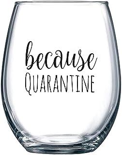 Because Quarantine – 面白いステムレスワイングラス 15オンス – 2020 Social Distanceingギフト – お母様、お父様、夫、奥様、親友へのプレゼント