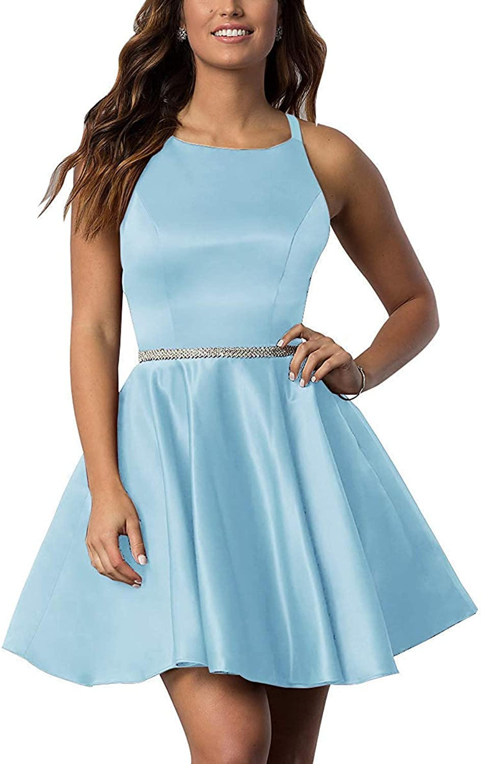 XKYU Women's ALine Short Homecoming Dresses Satin Beading Backless Sexy Simple Prom Dresses for Girls
