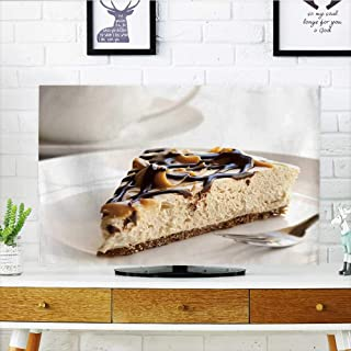 Philiphome Dust Resistant Television Protector Caramel and Chocolate Cheesecake with a Cup of Coffee tv dust