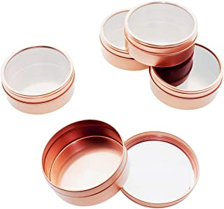 Mimi Pack 8 oz Tins 24 Pack of Shallow Window Top Round Tin Containers with Lids For Cosmetics, Party Favors, Gifts and Food Storage (Rose Gold)