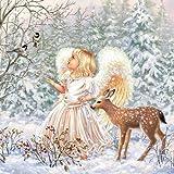 20 Servietten Engel im Märchenwald als winterliche Tischdeko für Kinder und Erwachsene 33x33cm